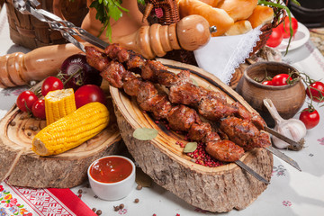 kebab skewer with decoration in Russian style