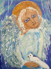 Angel with bird. Original acrylic painting on canvas