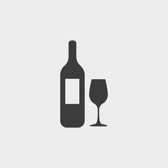 Bottle of wine and glass icon in a flat design in black color. Vector illustration eps10
