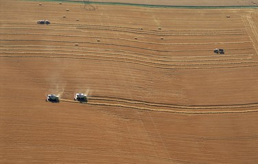 Aerial view of harvesters, Commercy Region, Meuse, Lorraine, France, Europe