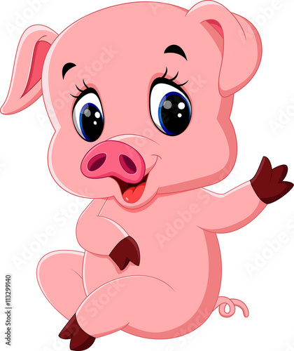 Quot cute pig cartoon posing stock image and royalty free