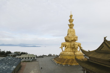 Sea of clouds surrounds the Jinding temple on the top of Golden Summit on Mount Emei Shan, Mount Emei Scenic Area, UNESCO World Heritage Site, Sichuan Province, China, Asia