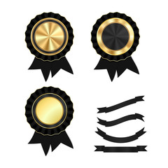 vector set of gold medals round with black ribbon