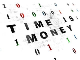 Finance concept: Time is Money on Digital background