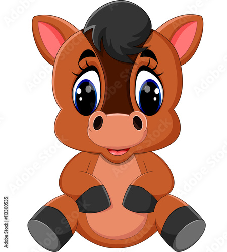 """Cute cartoon brown horse"" Stock image and royalty-free ..."
