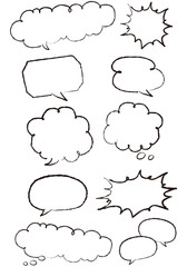 Hand-drawn speech bubbles set Vector
