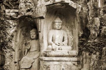 Stone Buddha rock carvings, Hangzhou, Zhejiang Province, China, Asia