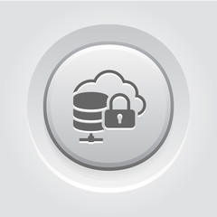 Cloud Secure Storage Icon. Flat Design.
