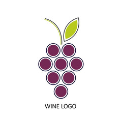 bunch of grapes. logo, symbol, logo, menu, wine list. vector illustration.