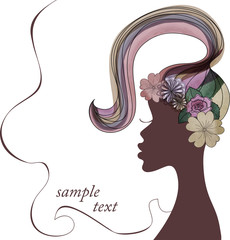 Vector illustration.silhouette of an African woman