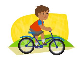 Boy Riding Bike Cute boy riding his bikes. Eps10