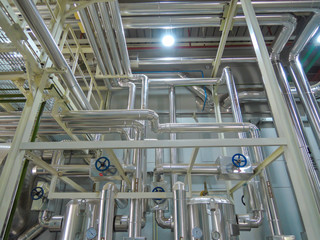 Process Boiler steel piping hot water steam in room for industry.