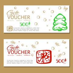 Gift voucher. Vector, illustration. Voucher template.