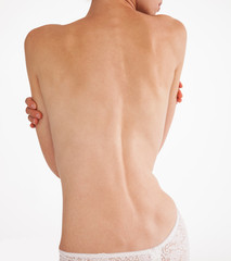 Unrecognizable young woman's back