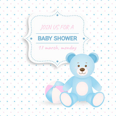 Invitation baby shower card with blue teddy bear and ball.Card with place for your text. In cartoon style.Vector illustration
