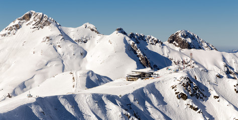 Ski resort Rosa Khutor. Mountains of Krasnaya Polyana. Sochi, Russia