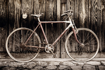 old bicycle sepia image