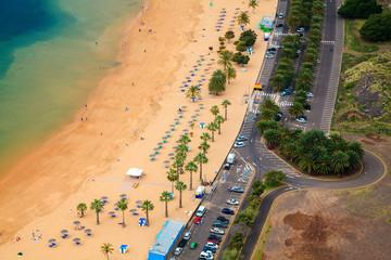 aerial view of the beach Las Teresitas