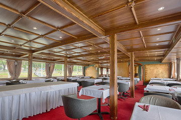 Interior of a cruise boat restaurant