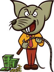 Evil Rat Boss Holding Whip Cartoon Illustration