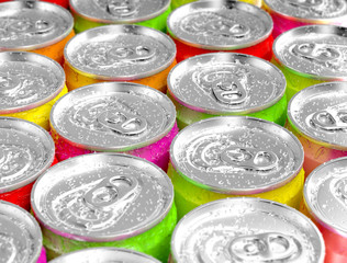 Colorful aluminum cans.