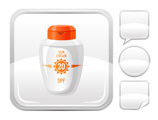 Sea beach and travel icon with sun protection cream on square background and other blank button forms
