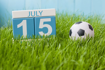 July 15th. Image of july 15 wooden color calendar on greengrass lawn background. Summer day, empty space for text