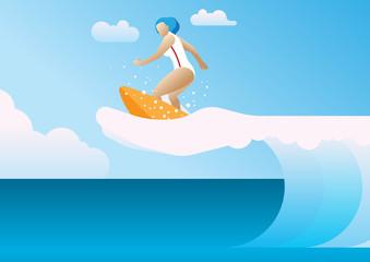 summer sea surfing woman wave imagine