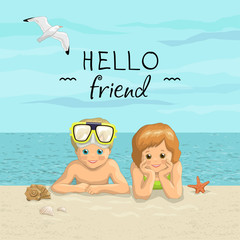 Vector banner summer sea beach vacation with the inscription. Day friends. Smiling kids boy and girl  lying on sea shore.