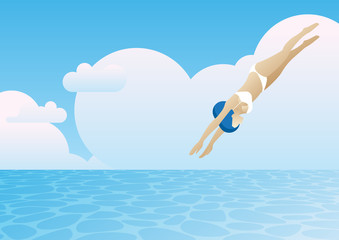 summer sea woman bikini diving