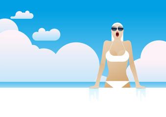 summer swimming pool cloud woman bikini
