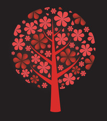 Fresh red background.Flowers tree. Vector