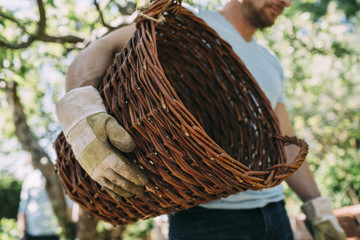 Midsection of man carrying wicker basket at yard