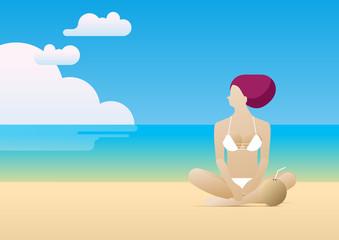 summer woman beach sit wind coconut beverage