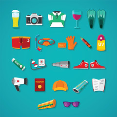 Travel & tourism vector icon objects set in flat style