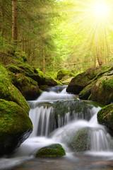 Waterfall on mountain creek in the National park Sumava-Czech Republic