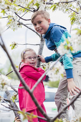 Portrait of boy playing with sister on tree branch