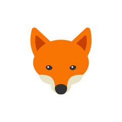 Red Fox Head Logo on White Background. Vector