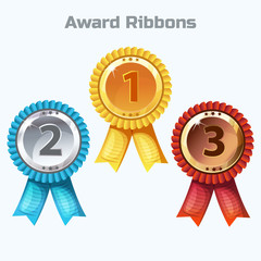 Colorful Award Ribbons, medals - gold, silver and bronze