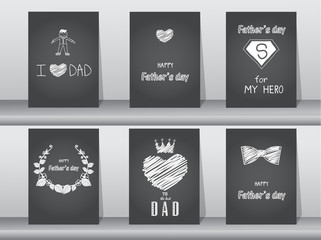 Collection of Happy Father's Day card on chalk board backgrounds,Vector illustrations