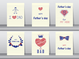 Collection of Happy Father's Day card on spiral notebook backgrounds,Vector illustrations