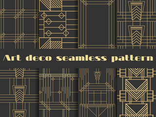 Art deco seamless patterns. Art deco geometric seamless pattern. Set retro  backgrounds. Style 1920's, 1930's.