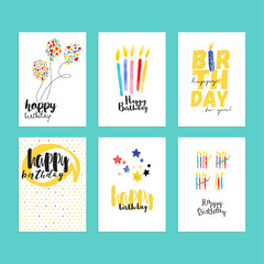 Birthday greeting cards collection. Hand drawn watercolor vector illustration concepts for website banners and print material.