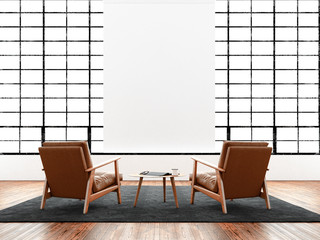 Modern interior studio loft huge panoramic window,natural color floor.Generic design furniture in contemporary business conference hall.Chillout lounge zone.Blank white poster hanging. 3D rendering.