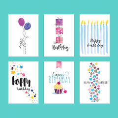 Set of birthday greeting card templates. Hand drawn watercolor vector illustrations for website banners, greeting cards, invitations.