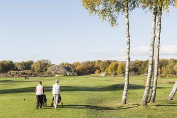 Rear view of senior women walking on golf course
