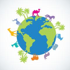 Illustration of Animals Walking Around a Globe