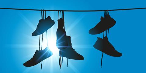Shoefiti, Chaussures sur un fil