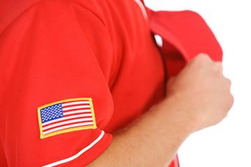 Baseball: Focus on USA Flag Patch