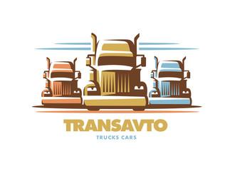 Logo illustration trucks on white background